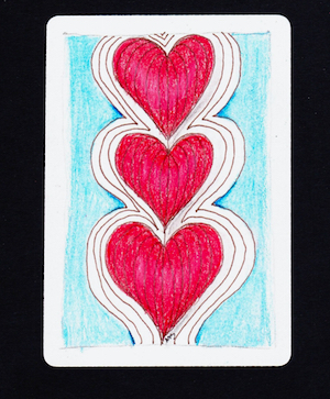 Tangle: Heartstrings.   Colored with Prismacolor pencils