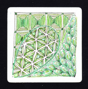 Tangles: Trivet, Tripoli, and Antidots Colored with green Prismacolor pencils