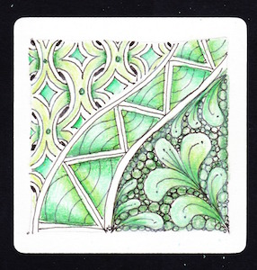 Tangles: MI2,  Golven, Flux and Tipple Colored with green Prismacolor Pencils