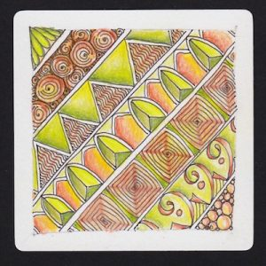Tangles: Printemps, Knass, Arnia, Trivet (Tangleation), Birds on a Wire, and Tipple. Colored with Prismacolor pencils